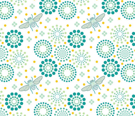 Dots bee fabric by colo_alonso on Spoonflower - custom fabric