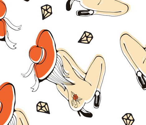 Women_nude fabric by olillia on Spoonflower - custom fabric