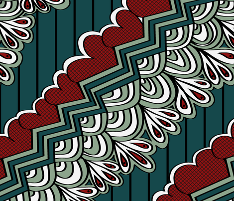 Hearts_Dusty_Green__red_and_blue_repeat fabric by house_of_heasman on Spoonflower - custom fabric