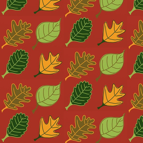 Graphic Leaves Burgundy
