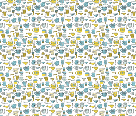 Coffee cups fabric by emjwalker on Spoonflower - custom fabric
