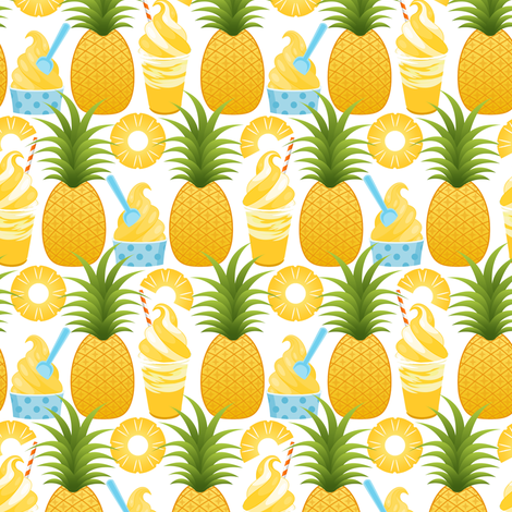 Pineapple Ice Cream - White fabric by ejrippy on Spoonflower - custom fabric