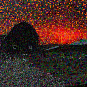 Country Sunrise Barn Silhouette POINTILLISM meets VAN GOGH