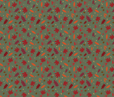 autumn leaves - green fabric by missdachner on Spoonflower - custom fabric