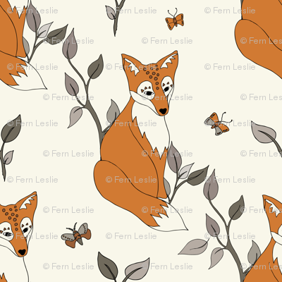 Diagonal Fox - Rust, Ivory … woodland, baby, nursery decor, fox