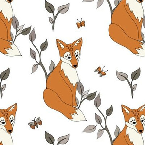 Diagonal Fox - Rust, White … woodland, fox,  baby, nursery decor,