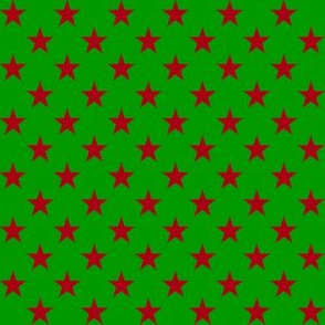 Half Inch Dark Red Stars on Christmas Green