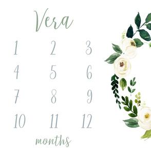 Vera // Rustic Ivory Blooms Baby Milestone Blanket