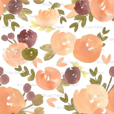 Peach Plum Vintage Florals