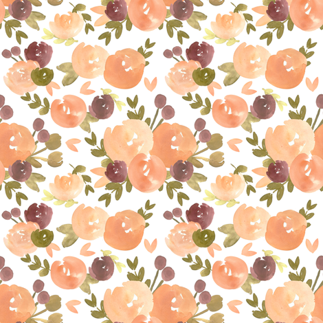 Peach Plum Vintage Florals  fabric by smallhoursshop on Spoonflower - custom fabric