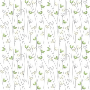 Seamless pattern with cute silhouettes of grass isolated on white background
