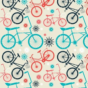 Seamless pattern with retro bicycles