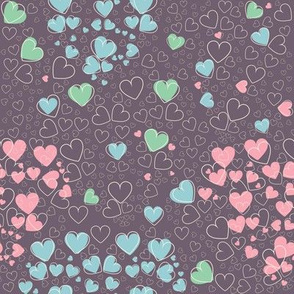 Trendy seamless pattern with cute hearts