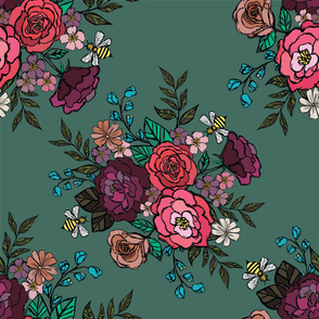 Moody Blooms Bouquet  Teal