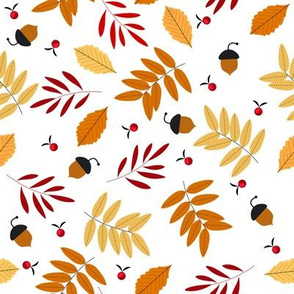 Autumn seamless pattern with leaves acorns and rowans