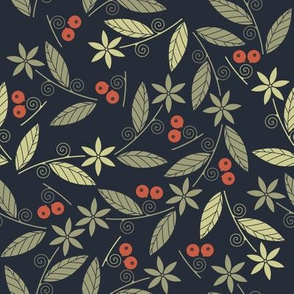 Beautiful seamless pattern with red berries green flowers and leaves