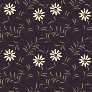 Beautiful seamless pattern with white chamomile flowers and green leaves