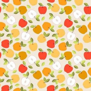 Cute seamless pattern with colorful leaves and apples