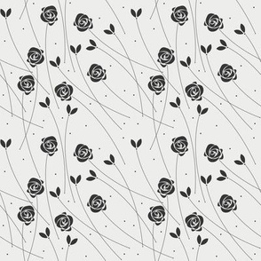 Cute seamless pattern with plants and roses