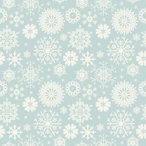 Cute seamless pattern with snowflakes isolated on light blue background