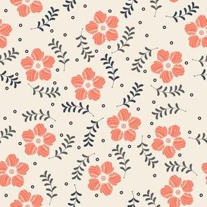 Elegant seamless pattern with beautiful flowers and plants