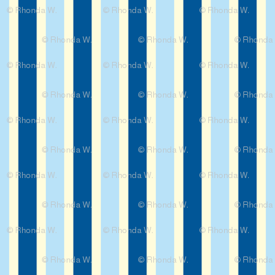 Seaside Summer Vertical Stripes  - Narrow Magnolia Cream Ribbons with Summer Seas Blue and Baby Blue - Medium Scale