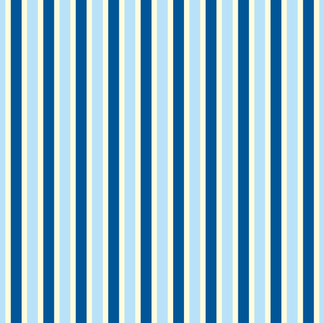 Seaside Summer Vertical Stripes  - Narrow Magnolia Cream Ribbons with Summer Seas Blue and Baby Blue - Medium Scale fabric by rhondadesigns on Spoonflower - custom fabric
