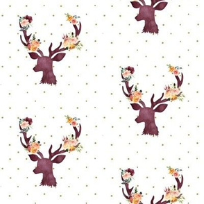 "4"" Autumn Wine Floral Deer // Gold Dots"