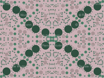 dots in green and rose