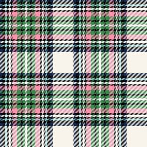 christmas knit tartan green on off-white