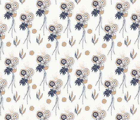 Navy Beige Flowers fabric by webvilla on Spoonflower - custom fabric