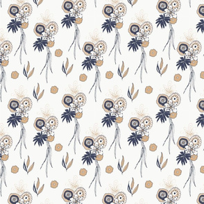 Navy Beige Flowers
