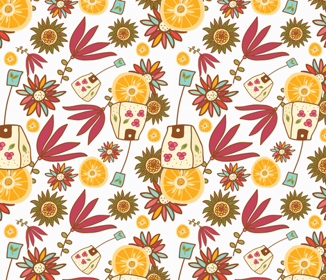 Tea Time Pattern fabric by webvilla on Spoonflower - custom fabric