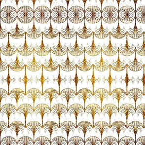 Art deco palm gold and white
