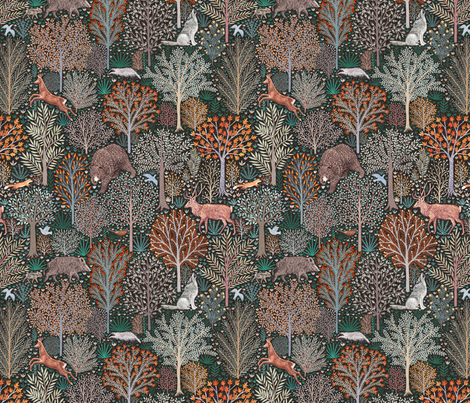 Forest animals - Les animaux de la fôret - SMALL fabric by rebecca_reck_art on Spoonflower - custom fabric