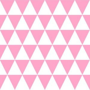 One Inch White and Carnation Pink Triangles