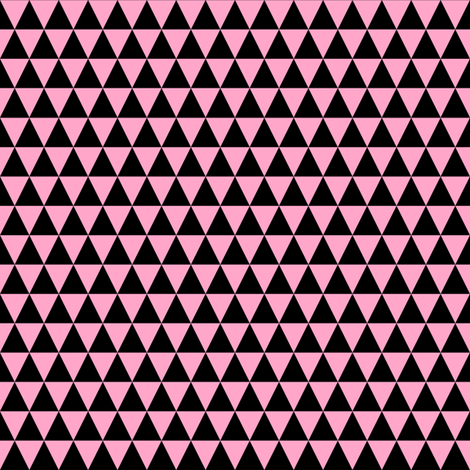 Half Inch Black and Carnation Pink Triangles fabric by mtothefifthpower on Spoonflower - custom fabric