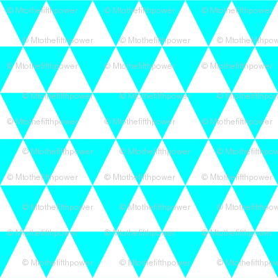 One Inch White and Aqua Blue Triangles