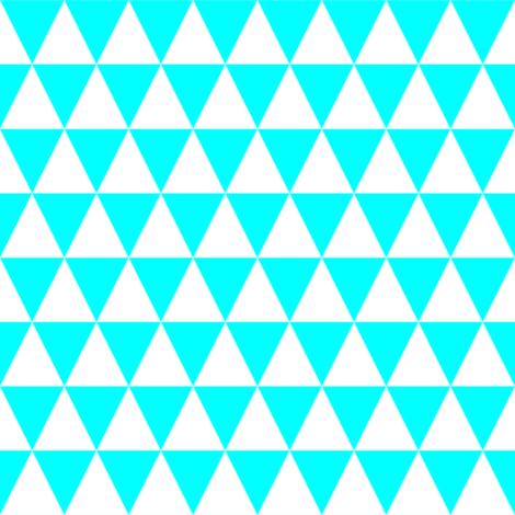 One Inch White and Aqua Blue Triangles fabric by mtothefifthpower on Spoonflower - custom fabric