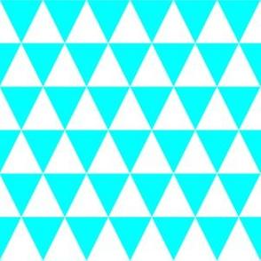 One Inch White and Aqua Blue Triangles