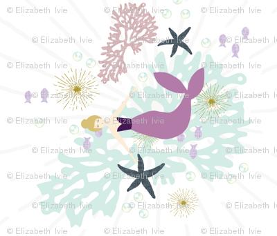 "Laguna Mermaid Single Motif Baby Blanket 42"" x 36"" // Blonde // Rotated"