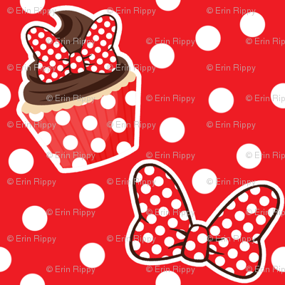 Cupcakes & Bows - Red