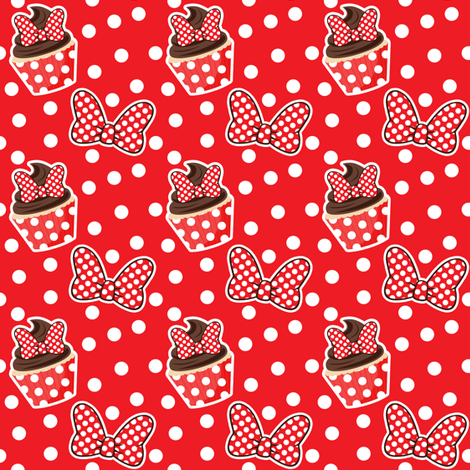 Cupcakes & Bows - Red fabric by ejrippy on Spoonflower - custom fabric