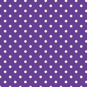 White Polkadots on Ultra Violet Purple Polkadots