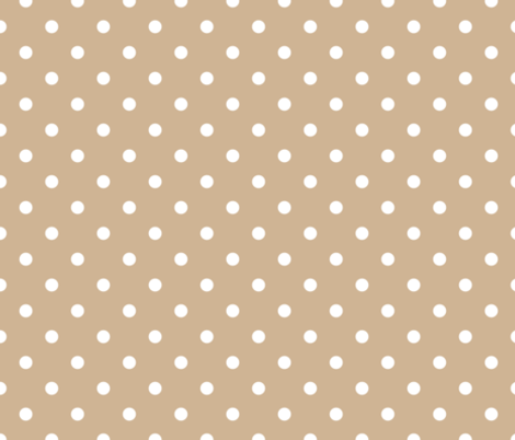White Polkadots on Warm Sand fabric by paper_and_frill on Spoonflower - custom fabric