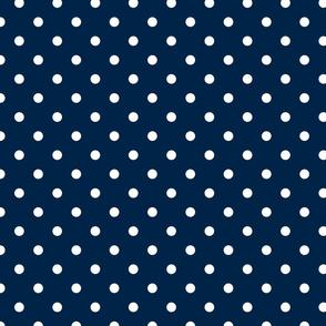 White Polkadots on Sailor Blue