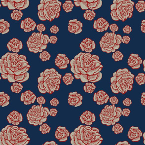 boho lounge - roses red/white/blue