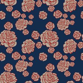 boho lounge - roses red/white/blue