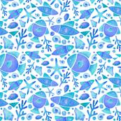 blue & aqua  fish watercolor