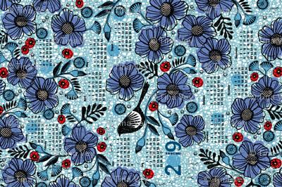 2019 Blue blooms and black bird tea towel calendar